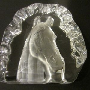 French Crystal D' Arc Paperweight Horse Head